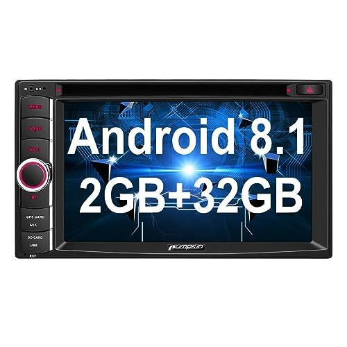 Pumpkin Android 8.1 Autoradio DVD GPS 2 Din Ecran Tactile 6.2 Pouces RAM 2Go ROM 32Go supporte Bluetooth USB SD WiFi 3G Commande au Volant RDS Radio OBD2 Dab+