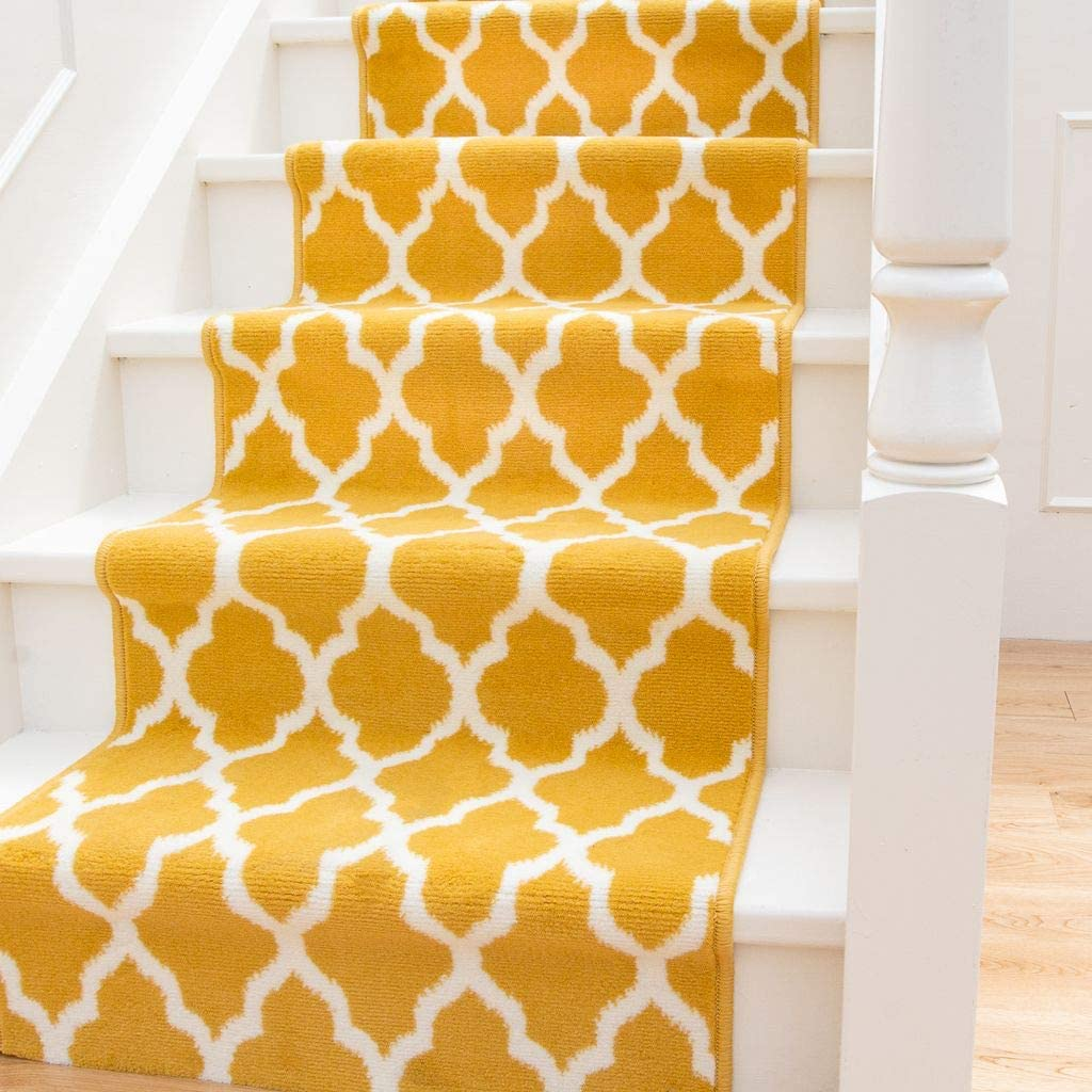 Modern Ochre Yellow Trellis Stair Carpet 特価品コーナー☆ Cream Geometric Durable ご予約品