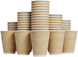 Sponsored Ad - Luckypack Hot 12 oz Disposable Insulated Corrugated Sleeve Ripple Wall Paper Coffee Cups for Drink, 12OZ, B...