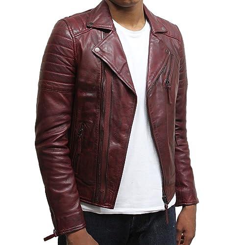 Burgundy Leather Jacket Amazon Co Uk