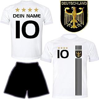 DE FANSHOP Deutschland Trikot mit Hose & GRATIS Wunschname  Nummer #D5 2021 2022 EM/WM Weiss - Geschenk für Kinder Jungen Baby Fußball T-Shirt personalisiert