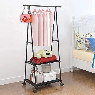 Lukzer 1PC Garment Stand Coat Hanging Rack A Shape Hanger with 2 Bottom Shelves Multipurpose Clothes Closet Shoes Blanket ...