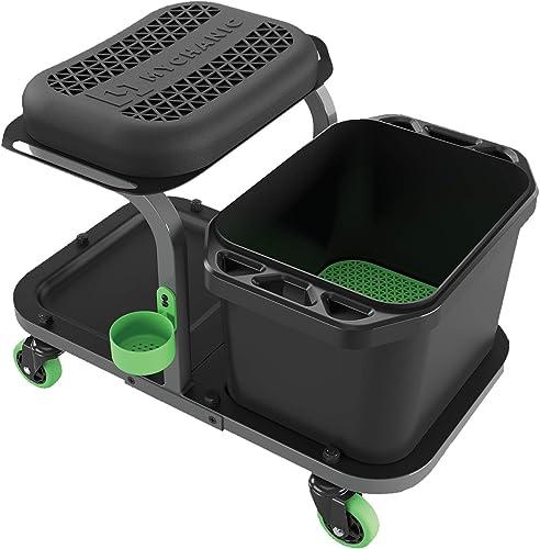 MYCHANIC Rolling Car wash Stool with Bucket Dolly - Heavy-Duty 5 Gallon Car Wash Bucket with Grit Guard - 350 Pound C...