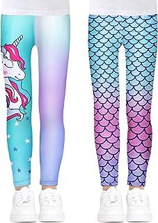 Girls Stretch Leggings Kids Mermaid Unicorn Print Ankle-Length Pants Tights, 2 Pack, Size 4-13
