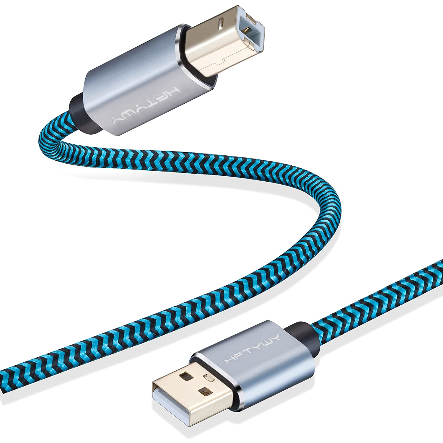Printer Cable, 25 FT USB Printer Cable Braid Long USB Printer Cord 2.0 Type A Male to B Male Cable Scanner Cord High Speed Compatible with HP, Canon, Dell, Epson, Samsung and More