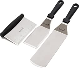 Metal Spatula Stainless Steel and Scraper - Professional Chef Griddle Spatulas Set of 3 - Heavy Duty Accessories Great for Cast Iron BBQ Flat Top Grill Skillet Pan - Commercial Grade