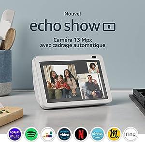 Nouvel Echo Show 8 (2e génération, modèle 2021) | Écran connecté HD avec Alexa et caméra 13 Mpx | Blanc