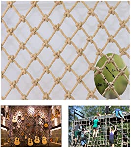 Children Fall Protection Safety Net Hemp Rope Decoration Net Stair Protection Net Balcony Anti-fall Net Child Safety Net Retro Bar Ceiling Net Hanging Clothes Net Climbing Net Rope  Size 10x1m