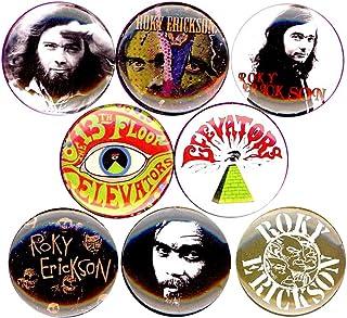 "Roky Erickson 8 NEW 1/"" buttons pins badges 13th floor elevators psych Texas"