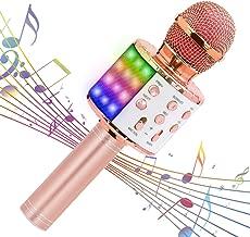 【最新改良版】Verkstar Bluetooth カラオケマイク ワイヤレスマイク 多彩LEDライト付き エコー機能搭載&伴奏機能 録音可能 Bluetoothで簡単に接続 無線マイク 音楽再生 家庭カラオケ ノイズキャンセリング Android/iPhoneに対応 (ローズゴールド)