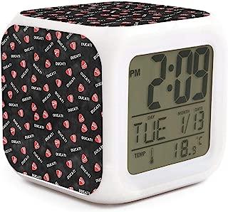 Unicorns Farting Digital Alarm Clock Wake Up LED Clock for Home Ducati-Dyeing-Black-red-Logo-Exhaust- Brightness Dimmer Sleep Timer