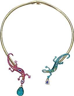 Multicolor Lizzard Hinge Collar Necklace
