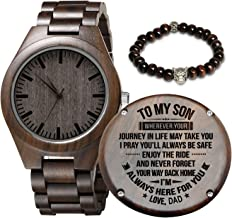 Engraved Wooden Watch for Son and Boyfriend,Personalized Wood Watch Gift for Boyfriend, Graduation Gift from Mom, from Dad
