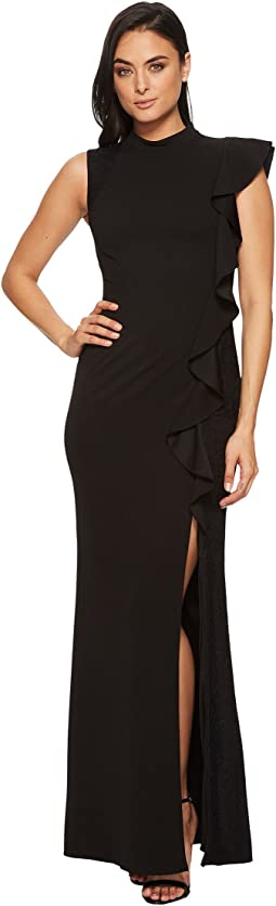 Adrianna Papell Sleeveless Mock Neck Flutter Accent Knit Crepe Gown
