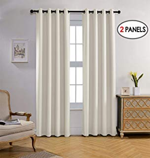 Miuco Blackout Curtains Room Darkening Curtains Textured Grommet Panels Living Room 2 Panels 52x84 Inch Long Beige
