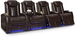 Seatcraft Delta Home Theater Seating Leather Power Recline, Powered Headrests, and Built-in SoundShaker (Row of 4, Brown)