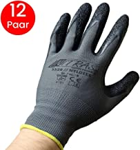 Nitras Nylotex 3520 Nylon-Latexhandschuhe Arbeitshandschuhe 12 PAAR, Grau/schwarz, 9