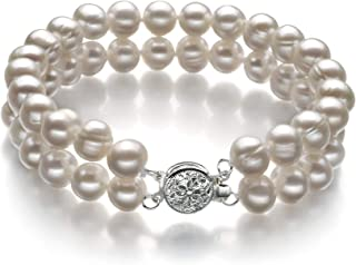 EDA White 6-7mm Double Strand A Quality Freshwater Cultured Pearl Bracelet for Women