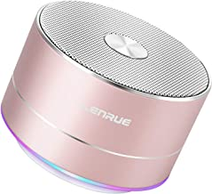 A2 LENRUE بلندگوی بلوتوث بی سیم قابل حمل با میکروفون داخلی، تماس handsfree، خط AUX، کارت TF، صدای HD و باس برای آی فون آیپد، گوشی هوشمند آندروید و بیشتر (گل رز)
