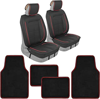 Motor Trend Premium Faux Leather Car Seat Covers for Front Seats, Modern Luxurious Style with Two-Tone Accents, Includes 4...