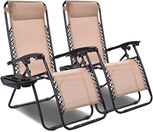 2021 Giantex 2 PCS Zero Gravity Chair Patio Chaise popular Lounge Chairs Outdoor Yard Pool lowest Recliner Folding Lounge Chair with Cup Holder (Beige) online sale