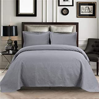 JARSON Bedspreads Coverlet Set,3 Piece Floral Coverlet Set Full/Queen Size with Pillow Shams,Lightweight Reversible Quilts Set for Summer - Gray,Full/Queen Size