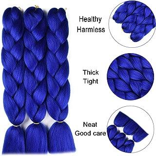 Jumbo Braiding Hair Extension Synthetic Kanekalon High Temperature Fiber Crochet Twist Braids Hair With Small Free Gifts 24inch 3pcs/lot(Royal Blue)