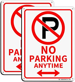 """MUXYH No Parking Sign, 2 Pack No Parking Anytime with Arrows Symbol Sign, 10"""" x 7"""" Rust Free .040 Aluminum, UV Reflective ..."""
