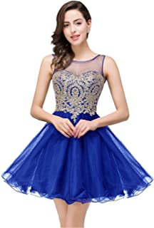 MisShow 2019 Women's Cocktail Dresses Crystals Applique Short Prom Dresses