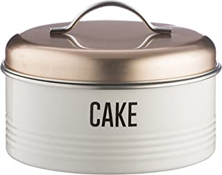 """Typhoon Vintage Copper Coated Steel Cake Storage Tin with Airtight Lid; Designed to Hold Cakes, Muffins and Sweet Treats; Holds a 6-1/2"""" Cake; Copper and White"""