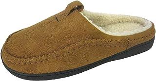 Men's Suede Slippers Faux Fur Trim, Outdoor Sole Plush Fur Lining