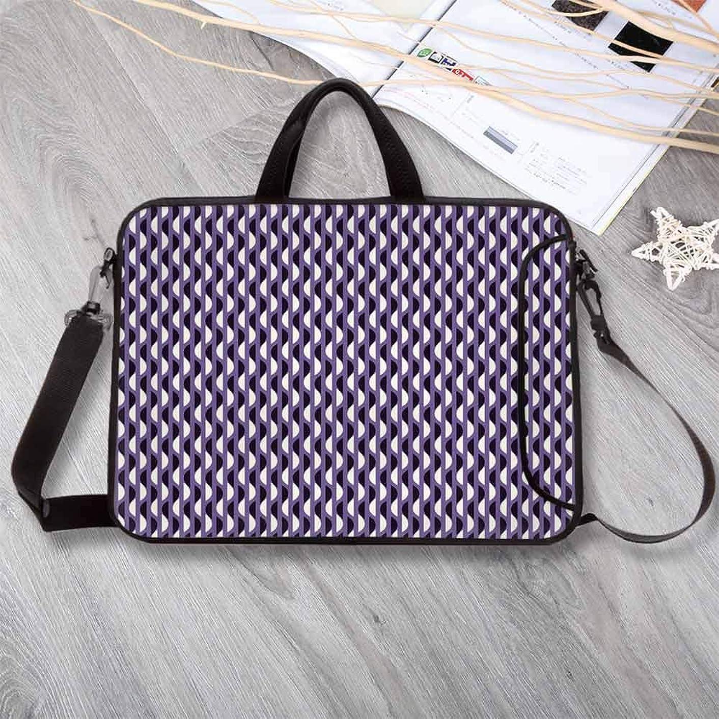 "Geometric Custom Neoprene Laptop Bag,Vivid Half Circles Pattern Vertical Design Geometric Elements Laptop Bag for Men Women Students,13.8""L x 10.2""W x 0.8""H"