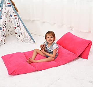 Ohnanana Kids Floor Pillows Bed Cover, Soft Plush,Perfect for Sleepovers Party,Lounger, Seating,Nap Mat,Reading Nook,Playing,Chair.Cover Only (Hot Pink)