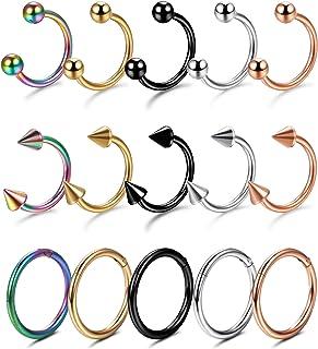 YADOCA 15 Pezzi Kit Piercing Acciaio Inox Donna Piercing al Naso e Anello Clicker Septum Ferro di Cavallo Cerchio Orecchin...