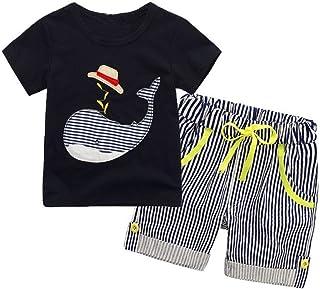7a9220b39fe24a BOBORA Bambini Abbigliamento Set Estivo Ragazzi Manica Corta T-Shirt Top e  Pantaloncino a Strisce