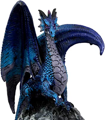 "Ebros Gift Aqua Spyro Blue Elemental Dragon Perching On Fossil Cave Crystal Geode Mine Guardian LED Night Light Statue 12.5"" H Dungeons and Dragons Mythical Fantasy Decor Dwarf Druid Treasure Trove"