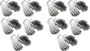 Ekon Polyester Blend Cotton Reusable Washable Hand Gloves for Safety and Daily Use (Pack of 10)- White & Grey