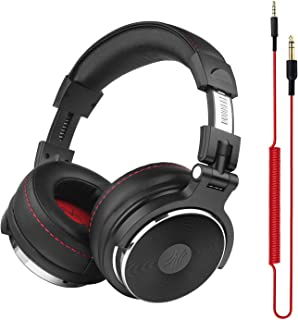OneOdio Adapter-Free DJ Headphones for Studio Monitoring and Mixing,Sound Isolation, 90° Rotatable Housing with Top Protein Leather Earcups, 50mm Driver Unit Over Ear DJ Headsets with Mic - Pro-50