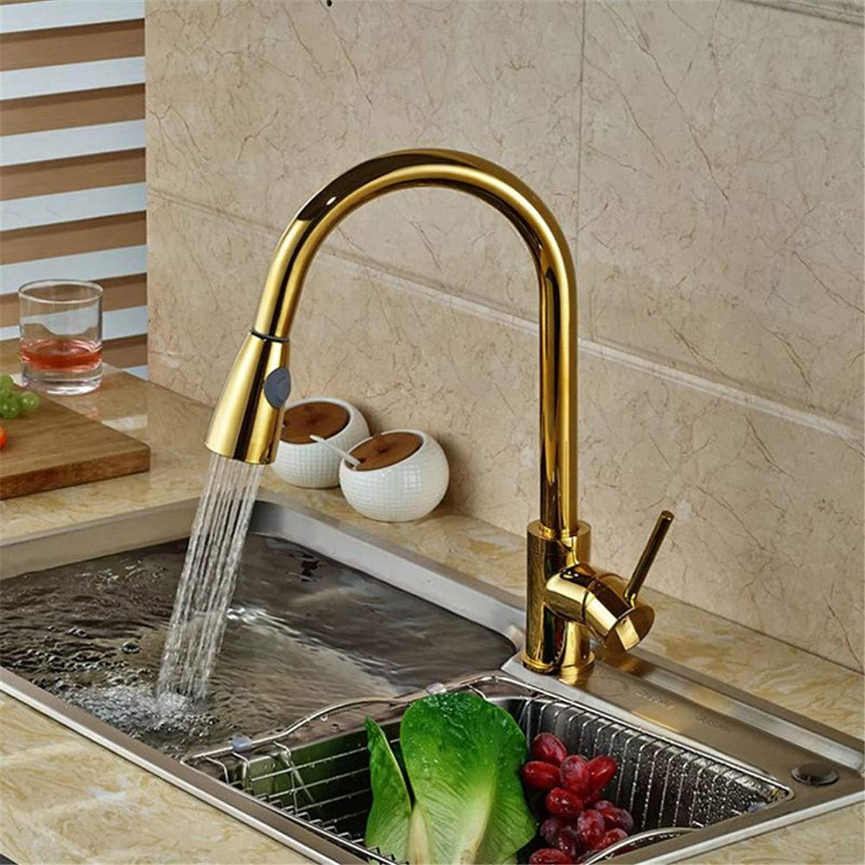 FZHLR Gold Messing Singel Lever Hohe Bogen Pull-Down-Küchenarmatur Mit Ausziehbarer Pull Out Sprühkopf, Schwenkbaren Auslauf