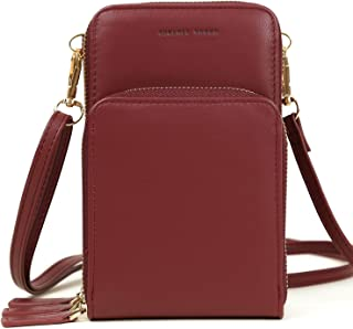 Small Crossbody Cellphone Bag Women Messenger Bag Ladies Wallet Purse Credit Cards Holder (Wine Red)
