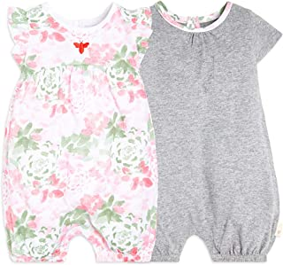Burt's Bees Baby Baby Girls Rompers, Set of 2 Bubbles, One Piece Jumpsuits, 100% Organic Cotton