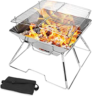 Odoland Outdoor Folding Campfire Grill, Camping Fire Pit, Outdoor Burner, 304 Premium Stainless Steel, Portable Camping Gr...
