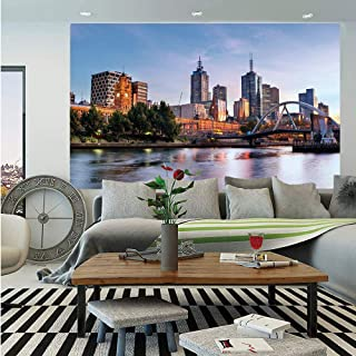 City Removable Wall Mural,Early Morning Scenery in Melbourne Australia Famous Yarra River Scenic,Self-Adhesive Large Wallpaper for Home Decor 66x96 inches,Orange Green Pale Blue