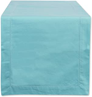 """DII 100% Cotton, Machine Washable, Everyday Hemstitch Kitchen Table Runner For Dinner Parties, Events, Decor 14x108"""" - Aqua"""