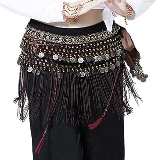 Wuchieal Bauchtanz Hüfttuch Bauchtänzerin Tribe Style Gürtel Quaste Hüfttuch Samt Taille Kostüm