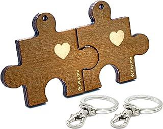 H-Customs Pendentif Porte-cl/é Fait Main en Forme de Coeur avec Coeur en Bois Brun