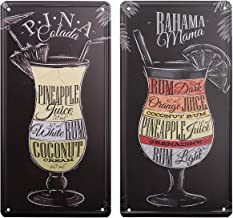 HANTAJANSS Pina Colada Bahama Mama Rainbow Cocktail Plate Metal Sign 2 Pack, Retro Vintage Tin Signs for Car Plate Cover, Pub, Beach, Bar, Store, Home Decoration