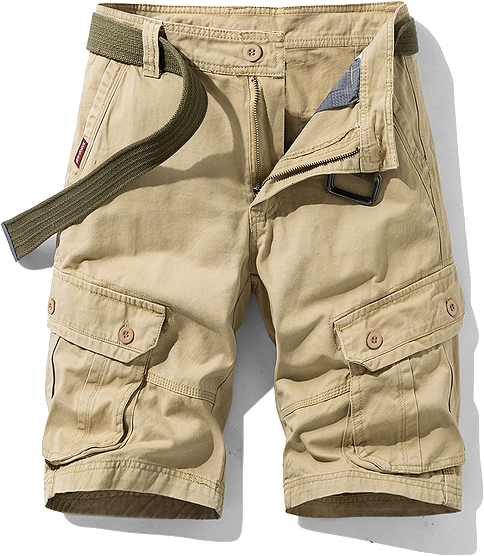 XiAn Men Summer Cotton Cargo Shorts Khaki Multi-Pocket Casual Short Pants Loose Military-Khaki-36