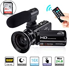 Video Camera Camcorder AMZLIFE 1080P HD with Microphone and Wide Angle Lens IR Night Vision LCD Touch Screen Remote Controller 16X Digital Zoom YouTube Vlogging Camera Recorder(Included 32 G SD Card)