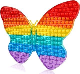 Big Pop It Fidget Toys Push Sensory Butterfly large Jumbo Huge Giant Rainbow New Design, Bubbles Popping Toy Gift School G...